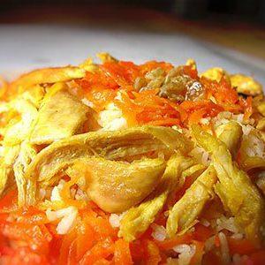 دستور آشپزی هویج پلو با مرغ