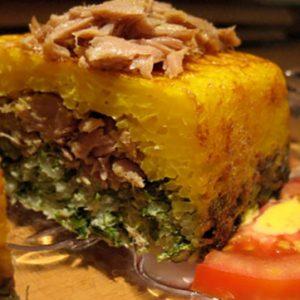 ته چین سبزی پلو ماهی